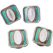 SALE Art Deco 1920 Celluloid Robin Egg Turquoise Blue & Carved Mother of Pearl Shell Cuff Link