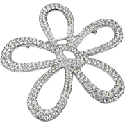 Swarovski Pave Ice Clear 300 + Crystals Rhodium Plated Huge Flower Posy Brooch Pin Swan ...