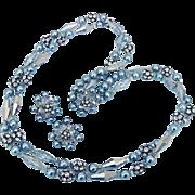 SALE BG28 Vintage Classy Demi Parure Silver Faux Pearls Crystals & Ice Rhinestone Studded Ball