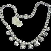 SALE Vintage Czecho Rhinestone Necklace Choker Clear  Ice Diamonds Czechoslovakia Silver Tone