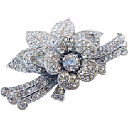 SALE BG53 ART DECO Rhodium Plated Pot Metal Layered Flower Brooch Pin Signed Heart in Shield D