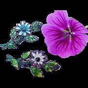 SALE BG134 Antique Edwardian to Art Nouveau Enamel Rhinestone Brooch Pin Set Flowers Purple &