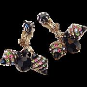 SALE BG73 Stunning Black Crystal & Pastel Rhinestone Rondelles Vintage Dangle Earrings Clips