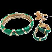 SALE BG209 Bijoux Cascio Italy Bangle Bracelet Bamboo Hoop Earrings Leaf Green Enamel & Gold T