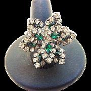 SALE BG119 Layered Flower Emerald Green & Diamond Clear Ice Crystal Rhinestone Ring Adjustable