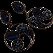 SALE BG21 Vintage RUNWAY Couture art glass Millefiori Venetian Glass 3.80 inches HUGE Clip Dan