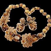 SALE BG51 Vintage Demi Parure Rhinestone Riveted Flower Necklace & Earrings Set Coffee Browns
