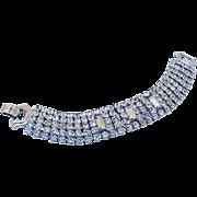 SALE BG78 Designer WEISS 5 Row Strand Wide Bracelet ICE clear Rhinestones Rounds & Emerald Cut