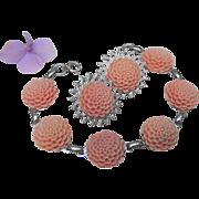 SALE Vintage Molded Celluloid Plastic Faux Carved Coral Flower Bracelet Earrings Set