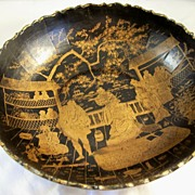 Antique Papier Mache Bowl - Oriental Court Scenes - 19th Century