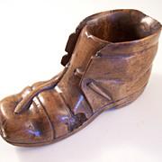Victorian Black Forest Match Holder & Striker - Carved Wooden Shoe