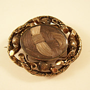 Victorian Mourning Brooch with 2 Colors of Hair - Interesting Mount