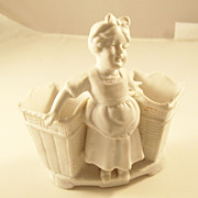 Charming Victorian Bisque Match Holder or Spill Vase - Girl with Baskets