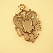 Handsome Sterling Silver Shield Fob - English, 1918