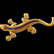 Edwardian Enamel Salamander Brooch - unusual!