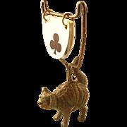 "Fabulous Edwardian ""Scaredy Cat"" figural Cat Trumps Trump Marker"