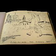 Charming English Autograph Album - 1930's - Drawings and Sayings