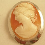 REDUCED Lovely Vintage Cameo Brooch set in Sterling Silver - Free Shipping