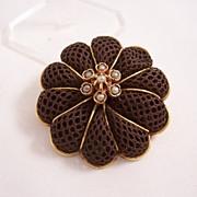 Fabulous Victorian 15 carat gold Mourning Hairwork Demi Parure - Brooch & Earrings