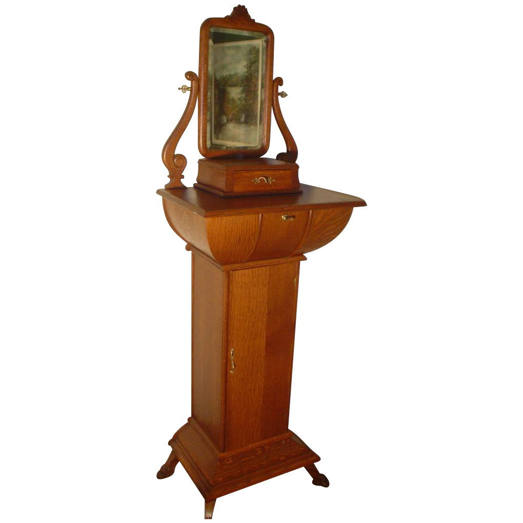 Monumental Quartersawn Oak Shaving Cabinet From
