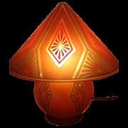 """Wonderful, Rare Glass, Art Deco Bellova """"GNOME"""" Lamp"""