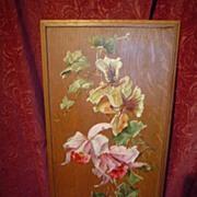 Oil on Oak Board Floral Oil Painting