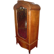 Magnificent Small Dome Top Oak Single Door Armoire+