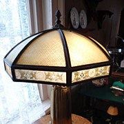 Ribbed Glass, Reverse Painted Bradley & Hubbard Slag Glass Lamp