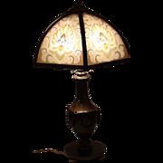 Bradley & Hubbard Reverse Painted  Slag Glass  Lamp