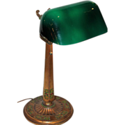 Emeralite Desk Lamp with Rare Fancy Base