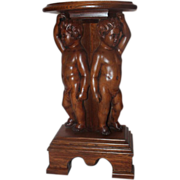 Carved Oak Double Cherub Plant Stand