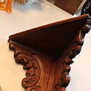 Lion Carved Oak Corner Shelf