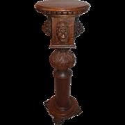 Great Lion Carved Oak Pedestal