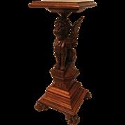 Extraordinary Oak Winged Lion Pedestal