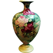"14"" Large Hand Painted Willets Belleek Vase w/ Roses"