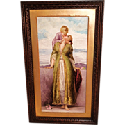 """Breathtaking 19th Century  LARGE 21"""" Hand Painted Porcelain Plaque ~ Depicting the Love o"""