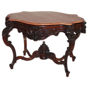 SOLD WOW!!  EXCEPTIONAL 1850's Rococo Rosewood Victorian Center Table attrib. to Alexander Rou
