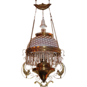 SALE Wonderful Bradley & Hubbard Griffin Opalescent Hanging Library Kerosene Lamp ~ VERY R