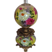 Wonderful Gone with the Wind Oil Lamp ~RARE Colors and Beautiful Hand Painted Mums~ Outstandin