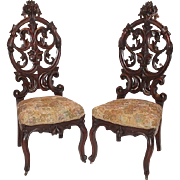 Museum Quality! ~ 1850's American Rococo Figural Walnut Parlor Chairs~ Outstanding Pierced .