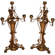 SALE WOW!!  Outstanding Pair of Renaissance Revival Aesthetic Brass Candelabras ~Wonderful Det