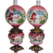 RARE PAIR of Gone with the Wind Oil Lamps ~Masterpiece Breathtaking  HAND PAINTED WILD ROSES .