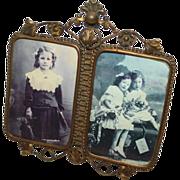 RARE  Victorian Rococo Brass Ornate Double Picture Frame ~ Circa 1890's~ ORIGINAL CONDITION