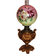 RARE EXCEPTIONAL Double Handled Figural Cherubs  Banquet Lamp ~Wonderful Old Original Hand ...