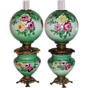 RARE PAIR of HAND PAINTED Gone with the Wind Oil Parlor Lamps ~Masterpiece Breathtaking HAND .