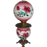 SALE Beautiful Gone with the Wind Oil Lamp ~ Breathtaking BEAUTY WITH HAND PAINTED ROSES ~ Out