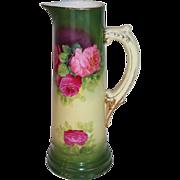 "Wonderful 1920""s Vintage German Hand Painted Tankard ~ Beautiful Roses~13 5/8 Tall"