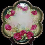"Wonderful 1920""s Large Vintage German Hand Painted Tray ~ Beautiful Roses~Measures 15 1/8"