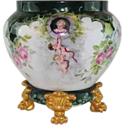 SALE VERY IMPORTANT HUGE Hand Painted Limoges Jardiniere and Limoges Plinth Base~ Fairy Tale R