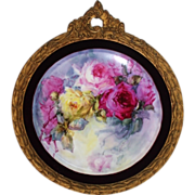 Breathtaking HUGE HAND PAINTED ROSES ~OUTSTANDING HAND CARVED ANTIQUE FRENCH FRAME ~ Museum Qu
